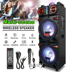 Dual 10 Disco LED Vertical BT Party Speaker High Powered System Portable Remote