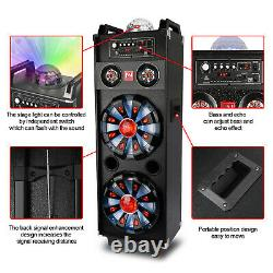 Dual 10 Subwoofer Portable Bluetooth Party Speaker DJ PA Karaoke LED System Mic