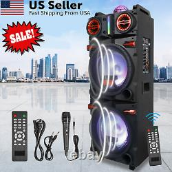 Dual 10 Subwoofer Portable Bluetooth Party Speaker with LED Lights Mic Remote USA