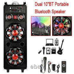 Dual 10BT Portable Party Bluetooth Speaker withKARAOKE ambient light Remote POP