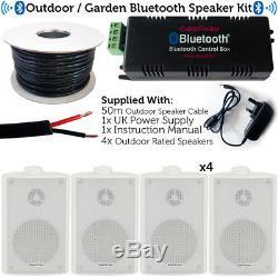 Garden Party/BBQ Outdoor Speaker KitWireless Mini Stereo Amp & 4 White Speakers