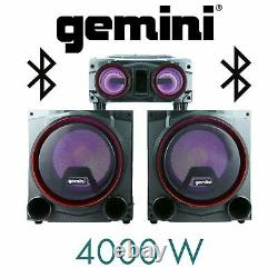 Gemini Audio 4000 Watt LED Bluetooth Party Home Theatre Stereo System Speaker