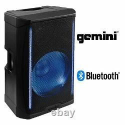 Gemini Pro Audio DJ 1000W Watts 15 Inch Party LED Bluetooth PA System Speakers