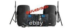 Gemini Refurbed Bluetooth Party Speaker and Dual DJ Turntable Media Deck Mix Set
