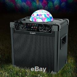 ION Speaker Bluetooth Wireless Party Rocker With Mic And Cable Karaoke Fun Light