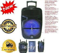 JUMBO 4600 Watts 15 Wirelessly Portable Party Bluetooth Speaker With Microphone
