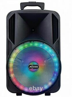 Loud Party Speaker 15 WithLED Light Rechargeable Bluetooth/Aux Input/USB/FM Radio