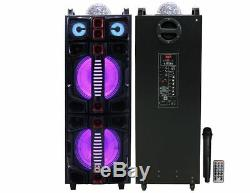 MR. DJ Malibu Dual 12 Rechargeable/Portable Party Speaker LED/Bluetooth/USB/FM