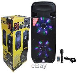 Mr DJ PSBAT6200 Dual 15 PA Speaker Party Music System SD FM USB Mic Bluetooth