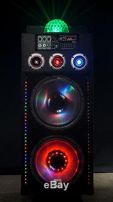 NYC Acoustics N212B Dual 12 700w Powered DJ Party Speaker Bluetooth, Lights+Mic