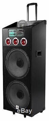 NYC Acoustics N215B Dual 15 800w Powered DJ Party Speaker Bluetooth, Lights+Mic