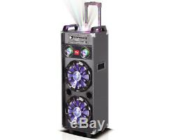 Nutek Dual 10 inch Portable Bluetooth PA Speaker Rechargeable Party Disco Lights