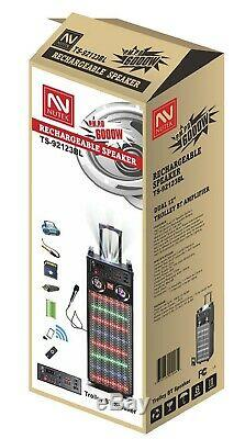 Nutek TS-92123 6000W Bluetooth Rechargeable Karaoke Party Speaker System 2x12
