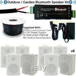 Outdoor/External Bluetooth Speaker System Mini Amplifier 8x White Speakers Kit