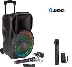 PLS 12 500w Portable PA Bluetooth Active Speaker System 2 Wireless Mic Karaoke