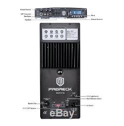 PRORECK 2000W 15 Powered PA Speaker System Amplifer Mixer Bluetooth USB