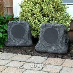 Pair of solar charging bluetooth outdoor rock speakers
