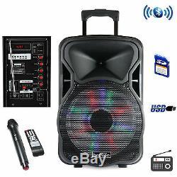 Party Pa Dj Speaker System 2500W Karaoke Machine 12 Portable Bluetooth Lights