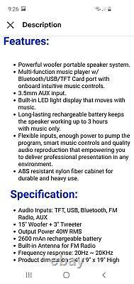 Party Speaker 15 3500W LED Light Rechargeable Bluetooth/Aux Input/USB/FM Radio