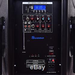Portable 12 Bluetooth Speaker 600W Rechargeable Battery 2 Mic Party Karaoke Fun