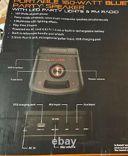 Portable 160-Watt Bluetooth Party Speaker with Lights