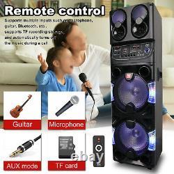 Portable BT Party Speaker Dual 10'' Subwoofer + 3'' Tweeter WithLED Disco Karaoke