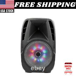 Portable Bluetooth Loud Speaker Party DJ 15 Inch Large Wireless w Mic & Stand
