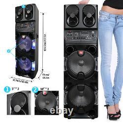 Portable Bluetooth Party Speaker Dual 10 Woofers Tweeter FM Karaoke Remote Mic