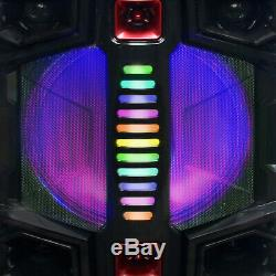 Portable Bluetooth Party Speaker Dual 12 Subwoofer LED Lights Remote Microphone