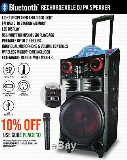 Portable DJ PA Karaoke Party Disco Bluetooth Speaker Subwoofer & Wireless Mic