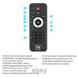 Portable Dual 10'' Subwoofer Bluetooth Party Speaker USB FM Radio Karaok LED Mic