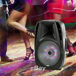 Portable Loud Speaker Bluetooth Party 7,500W 15 Inch Wireless Microphone & Stand