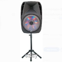 Portable Loud Speaker Bluetooth Party 7500W 15Inch Wireless Microphone and Stand