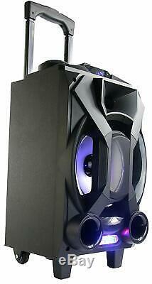 Portable Party Speaker Rechargeable Bluetooth FM Radio USB Karaoke LED Speakers