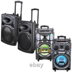 Portable Rolling PA Speaker DJ Party Bluetooth USB Remote Control DJ Party