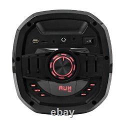 Powered Portable 2x6.5 Inch Party Karaoke Speaker LED Bluetooth, Mic & Remote