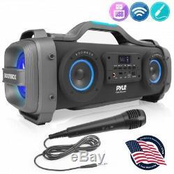 Pyle PBMSPG148 Bluetooth BoomBox Karaoke Speaker System Flashing DJ Party Lights