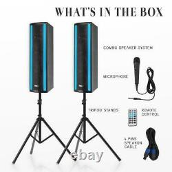 Pyle PS65ACT Portable Bluetooth Speaker System withMicrophone in Party lights