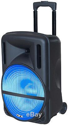 QFX 12 Rechargeable Bluetooth PA DJ Party Speaker FM Radio/USB/LED MP3 With Mic