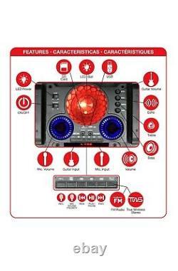 QFX PBX-1212 2 x 12 Party Speaker +Bluetooth +USB/SD/FM +3-Disco RGB Lights