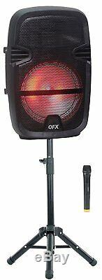 QFX PBX-61087 Portable Party Speaker with Stand and Wireless Microphone