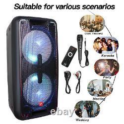 Rechargeable Bluetooth Party DJ Portable Speaker Dual 10 3000W Card/BT/FM/AUX