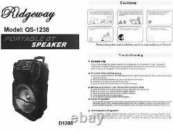 Ridgeway 15 Rechargeable Bluetooth Party DJ Speaker Multi-Lights PA Speaker
