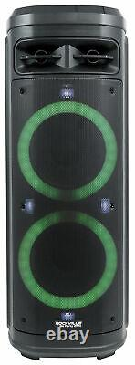 Rockville Go Party ZR10 Dual 10 Portable Bluetooth Speaker withLED+UHF Microphone
