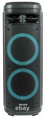 Rockville Go Party ZR10 Dual 10 Portable Wireless LED Bluetooth Speaker+UHF Mic