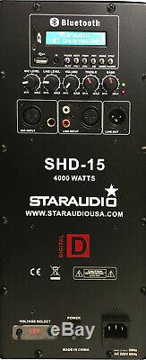 STARAUDIO 15 4000W Power PA DJ Active Stage Bluetooth Speaker 2CH UHF Party Mic