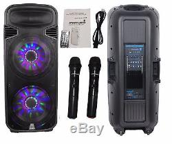 STARAUDIO Dual 15 4500W Powered Bluetooth Party DJ PA Speaker With LED Light Mics