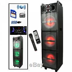 Sound Party Lights Triple 10inch DJ PA Bluetooth Portable Speaker and Microphone