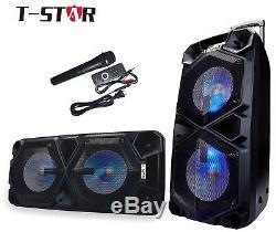 T-STAR Dual 10 Karaoke Party Bluetooth Speaker Portable System + Wireless Mic