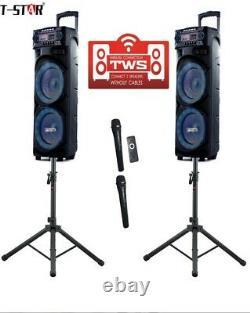 T-Star T-1135A Dual 10' wireless professional trolley DJ Party speaker system
